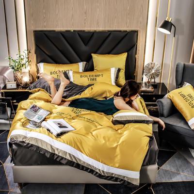 2020新款-字母刺绣真丝拼接四件套 床单款四件套1.5m(5英尺)床 水洗真丝套件-流金黄