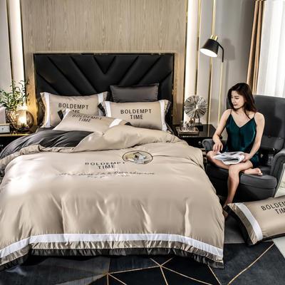 2020新款-字母刺绣真丝拼接四件套 床单款四件套1.5m(5英尺)床 水洗真丝套件-香槟金