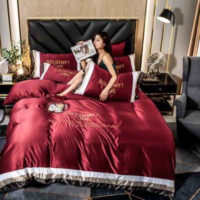 2020新款-字母刺绣真丝拼接四件套 床单款四件套1.5m(5英尺)床 水洗真丝套件-中国红