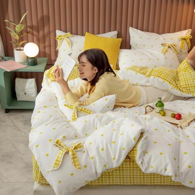 2020新品-蝴蝶结牛奶绒四件套 1.5m床单款四件套 爱心黄