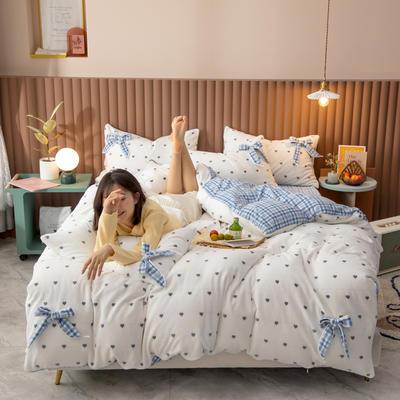 2020新品-蝴蝶结牛奶绒四件套 1.5m床单款四件套 爱心蓝