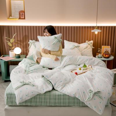 2020新品-蝴蝶结牛奶绒四件套 1.5m床单款四件套 爱心绿