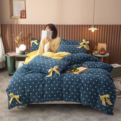 2020新品-蝴蝶结牛奶绒四件套 1.2m床单款三件套 繁星蓝