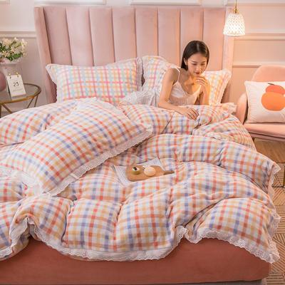 2020新品秋冬-保暖牛奶格四件套 1.5m床单款四件套 格子橘