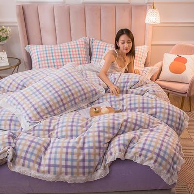 2020新品秋冬-保暖牛奶格四件套 1.5m床单款四件套 格子紫