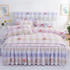 韩版蕾丝床裙六件套 1.2m(4英尺)床 品心-紫