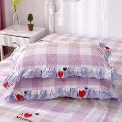 韩版花边枕套(单枕套) 46cmX72cm/一对 品心-紫
