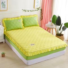 床笠款全夹棉四件套(被套也夹棉) 1.5床配2.0被套 黄拼果绿