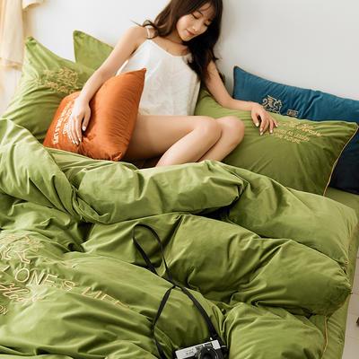 2019新款-法兰绒水晶绒极奢纯色丽丝绒绣花四件套 床单款2.0m(6.6英尺)床 都市情缘浅绿