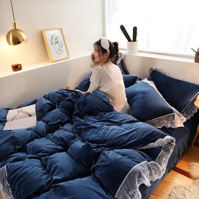 2019新款-臻丝绒工艺蕾丝款四件套 床单款2.0m(6.6英尺)床 爱莉莎宝石蓝