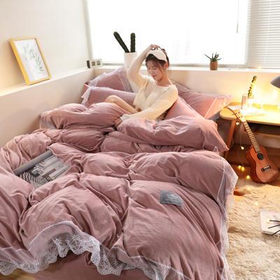 2019新款-臻丝绒工艺蕾丝款四件套 床单款2.0m(6.6英尺)床 爱莉莎豆沙粉