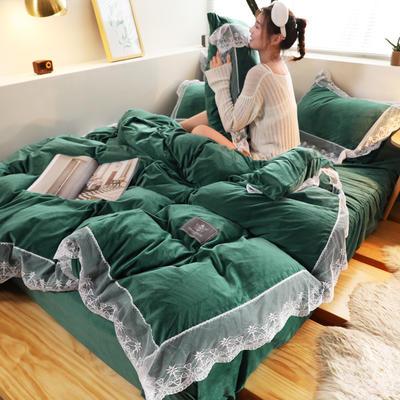2019新款-臻丝绒工艺蕾丝款四件套 床单款2.0m(6.6英尺)床 爱莉莎高雅绿