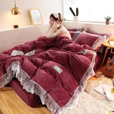2019新款-臻丝绒工艺蕾丝款四件套 床单款2.0m(6.6英尺)床 爱莉莎酒红