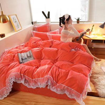 2019新款-臻丝绒工艺蕾丝款四件套 床单款2.0m(6.6英尺)床 爱莉莎橘红