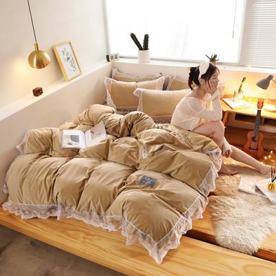 2019新款-臻丝绒工艺蕾丝款四件套 床单款2.0m(6.6英尺)床 爱莉莎卡其