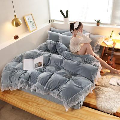 2019新款-臻丝绒工艺蕾丝款四件套 床单款2.0m(6.6英尺)床 爱莉莎蓝灰