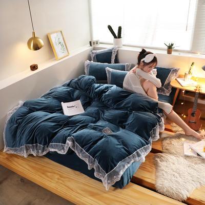 2019新款-臻丝绒工艺蕾丝款四件套 床单款2.0m(6.6英尺)床 爱莉莎浅蓝