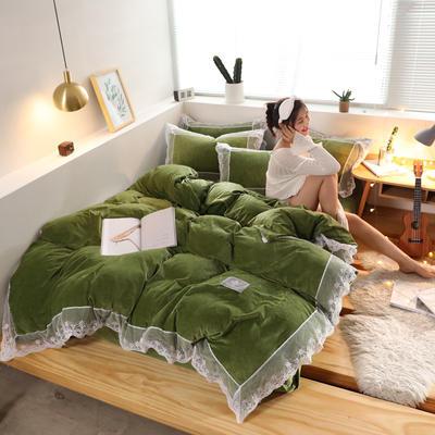 2019新款-臻丝绒工艺蕾丝款四件套 床单款2.0m(6.6英尺)床 爱莉莎果绿