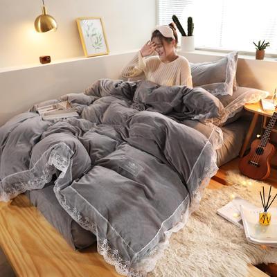 2019新款-臻丝绒工艺蕾丝款四件套 床单款2.0m(6.6英尺)床 爱莉莎浅灰