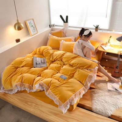 2019新款-臻丝绒工艺蕾丝款四件套 床单款2.0m(6.6英尺)床 爱莉莎杏黄