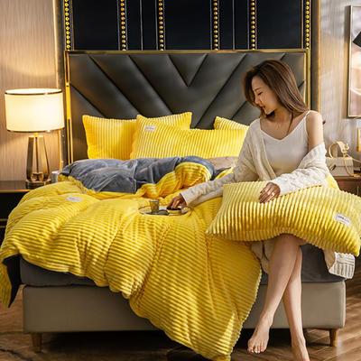2019新款-魔法绒四件套 床单款1.8m(6英尺)床 柠檬黄