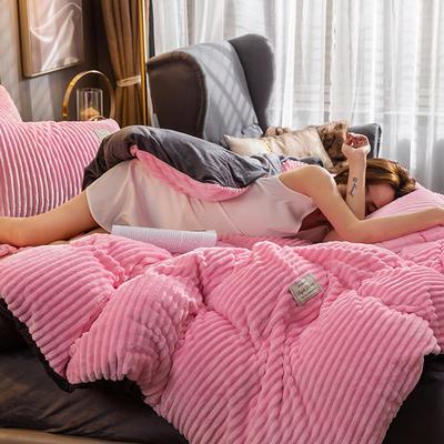 2019新款-魔法绒四件套 床单款1.8m(6英尺)床 樱花粉