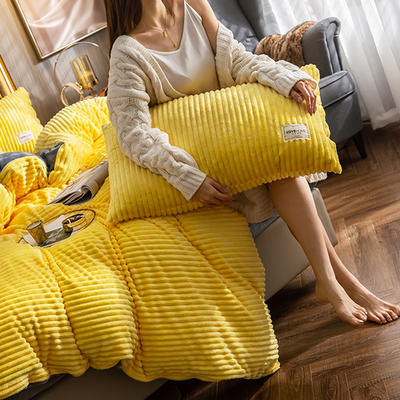 2019新款-魔法绒四件套风格2 床单款1.8m(6英尺)床 柠檬黄