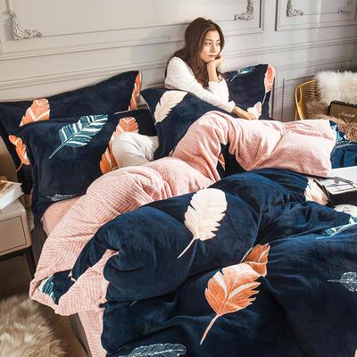 2019新款-高克重牛奶臻棉絨四件套風格2 床單款1.8m(6英尺)床 橙羽