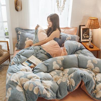 2019新款-高克重牛奶臻棉绒四件套风格2 床单款1.8m(6英尺)床 和风细雨