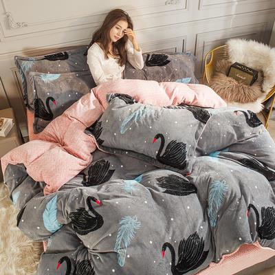 2019新款-高克重牛奶臻棉绒四件套风格2 床单款1.8m(6英尺)床 黑天鹅