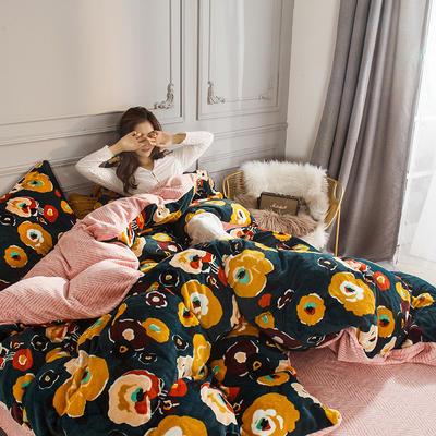 2019新款-高克重牛奶臻棉绒四件套风格2 床单款1.8m(6英尺)床 漫花