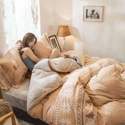2019新款-高克重牛奶臻棉绒四件套风格2 床单款1.8m(6英尺)床 麋鹿森林