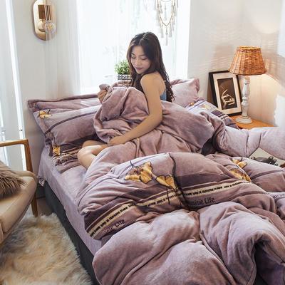 2019新款-高克重牛奶臻棉絨四件套風格2 床單款1.5m(5英尺)床 秋紗
