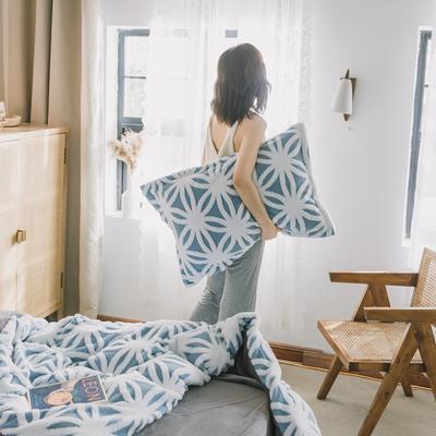 2020新款-舒棉絨枕套 48cmX74cm/個 藍菱花枕套