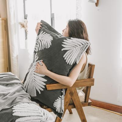 2020新款-舒棉絨枕套 48cmX74cm/個 摩卡灰羽葉枕套