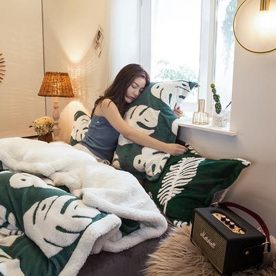 2020新款-舒棉絨枕套 48cmX74cm/個 墨綠龜背竹枕套