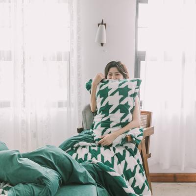 2020新款-舒棉絨枕套 48cmX74cm/個 墨綠千鳥格枕套