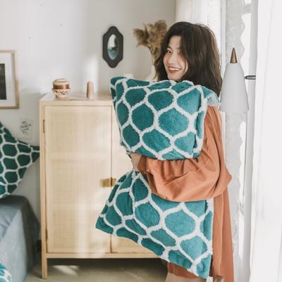 2020新款-舒棉絨枕套 48cmX74cm/個 墨綠情網格枕套
