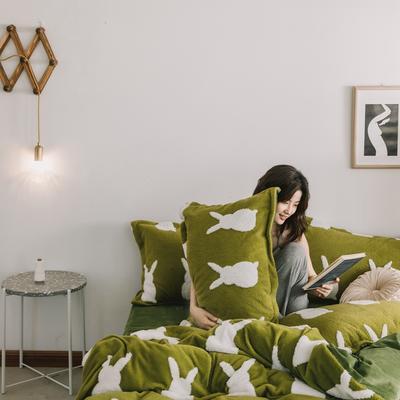 2020新款-舒棉絨枕套 48cmX74cm/個 牛油果綠兔影枕套