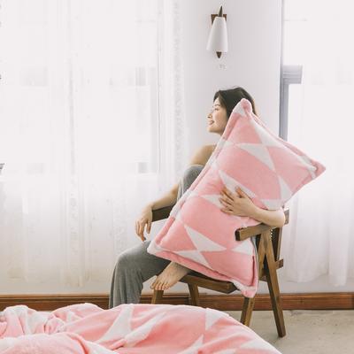 2020新款-舒棉絨枕套 48cmX74cm/個 藕粉三角花枕套