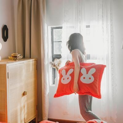 2020新款-舒棉絨枕套 48cmX74cm/個 珊瑚橘兔耳枕套