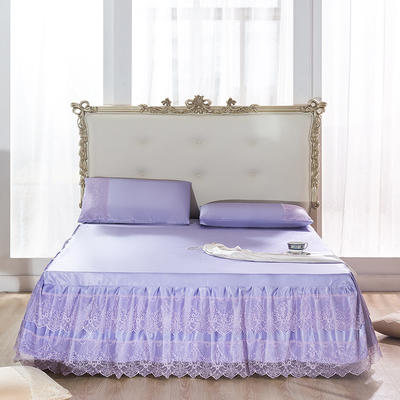 2020新款-冰絲涼席床裙三件套 1.5 薰衣草-紫