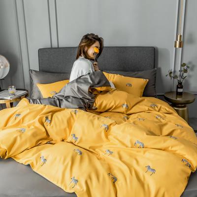 2020新款-水洗真絲四件套 床單款1.5m(5英尺)床 斑馬