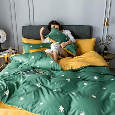 2020新款-水洗真絲四件套 床單款1.5m(5英尺)床 楓葉-綠