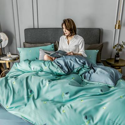2020新款-水洗真絲四件套 床單款1.5m(5英尺)床 蜂鳥