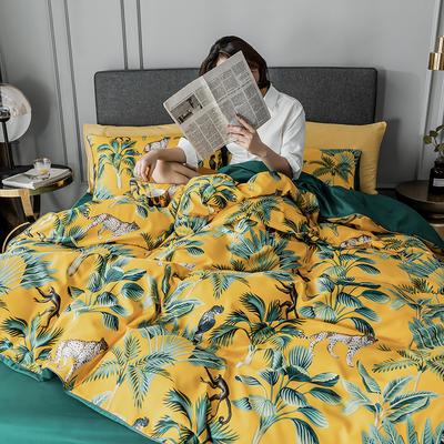 2020新款-水洗真絲四件套 床單款1.5m(5英尺)床 林影-姜黃