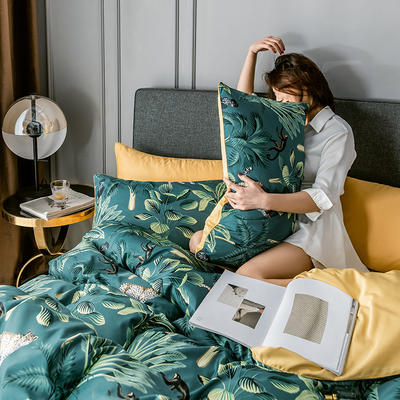 2020新款-水洗真絲四件套 床單款1.5m(5英尺)床 林影-綠