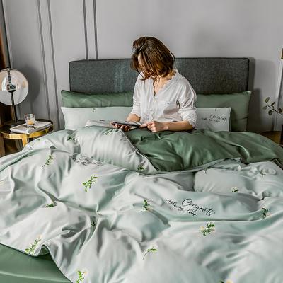2020新款-水洗真絲四件套 床單款1.5m(5英尺)床 小雛菊-水綠