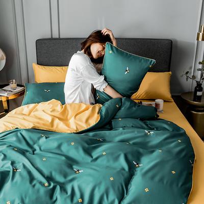 2020新款-水洗真絲四件套 床單款1.5m(5英尺)床 小蜜蜂-綠