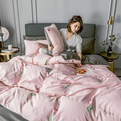 2020新款-水洗真絲四件套 床單款1.5m(5英尺)床 郁金香